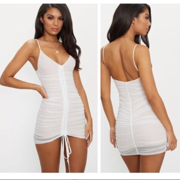 296212e04044 PrettyLittleThing White Mesh Ruched Bodycon Dress.  M_5be532d78ad2f96fdedbf391